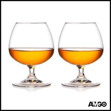 Crystal Cognac Brandy Snifters Glasses by AMGO, 8.45 Ounce, Lead Frere, Set of 2