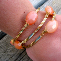 Stacked Wire Bangles {Peach}