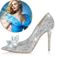 2017 New Glitter Rhinestone High Heels Cinderella Shoes Women Pumps Pointed toe Woman Crystal Wedding Shoes Zapatos Mujer