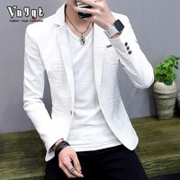 2018 men's cultivate one's morality suit male thin handsome personality in spring and summer pure color leisure suit trend