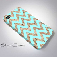 iPhone 4s Case, iPhone 4 Case, iPhone 5 Case Mint Chevron on Wood, iPhone 5s Case, Cell Phone Cover Geometric iPhone Hard Case Tribal Aztec