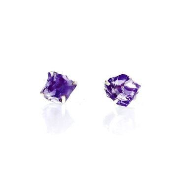 98d82e9ae Raw Amethyst Earrings Set in 925 Sterling Silver Studs