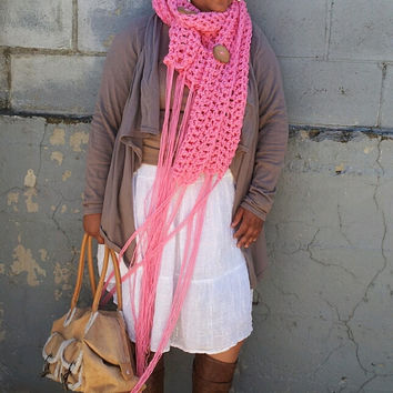Breast Cancer Awareness Scarf with Olive Tree Buttons and Fringe Chunky Scarf with Buttons