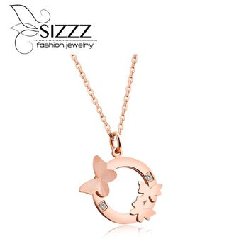 SIZZZ Fashion Double Butterfly Necklace Bone Chain Titanium Steel Rose Gold Pendants For Women/Girl