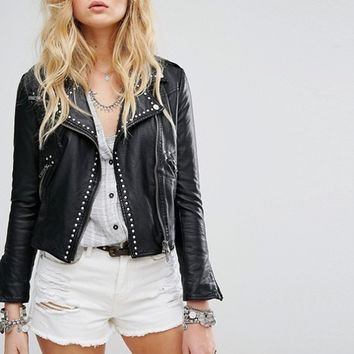 Free People Studded Vegan Moto Jacket at asos.com