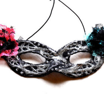 Black Lace Mask with Pink and Blue Lace Flowers by FeatherFunded