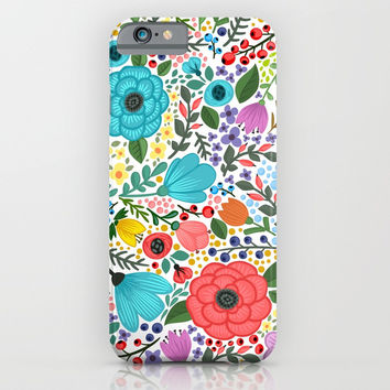 Colorful Vintage Spring Flowers iPhone & iPod Case by Smyrna