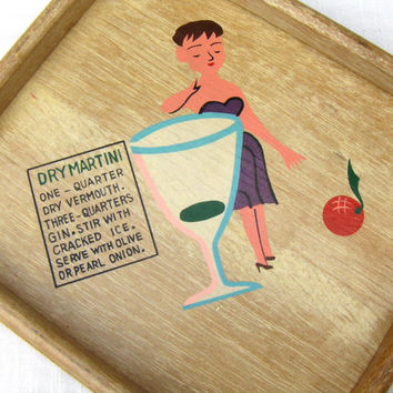 Vintage Drink Recipe Bar Tray Dry Martini Bamboo Tray #3397