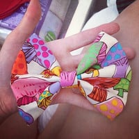 Colorful Mushroom Printed Hair Bow