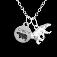 Mama Bear Polar Bear Mom Mother's Day Animal Gift Wife From Kids Necklace