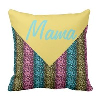 Pink Blue and Bronze Glam Stripe Mama Throw Pillow