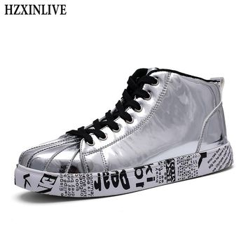 HZXINLIVE 2018 Women Vulcanized Shoes Sneakers Ladies Lace-up Casual Ankle Shoes Walking Bling Mirror Leather Graffiti Flat Plus