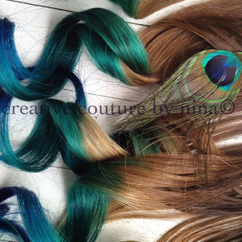 "Peacock Feather Hair Extensions//Peacock Ombre/Peacock DipDye/BurningMan/Teal, Emerald Green and Blue Hair/(7) Pieces/18""/Custom Your Own"