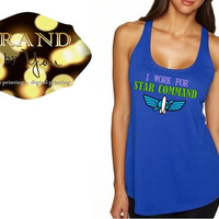 TANK TOP** I Work For Star Command - Women's - Buzz Lightyear Star Command // Disney Toy Story // space ranger custom printed graphic shirt