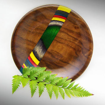 Decorative Wood Plate in Black Walnut with Rainbow Birch Inlay - Wood Dish