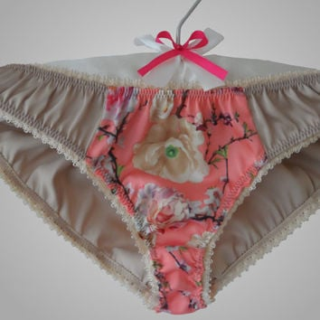 Silk Panties with a Floral Insert Beige Handmade
