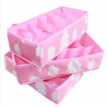 3 In 1 Underwear Storage Box For Ties Socks Shorts Bra Underwear Organizer Divider Drawer Lidded Closet Organizer