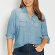 plus size chambray button down shirt in medium wash