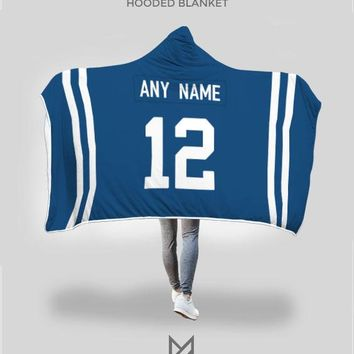 Indianapolis Colts Hooded Blanket - Personalized Any Name & Any Number