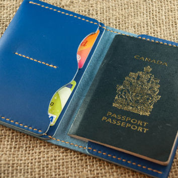 Passport Wallet - Royal Blue Leather - Mens Womens -- Travel Passport Wallet Leather - Personalized Monogram