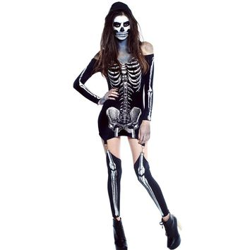 Women Sexy X-rayed Skeleton costume Dead Bride dress Halloween Deluxe Gothic skeleton cosmic print Carnival Party Dress 89025