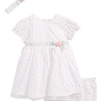 Little Me Shiny Dot Dress & Headband Set (Baby Girls) | Nordstrom
