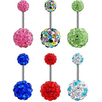 1 Piece High Quality Crystal Balls Navel Piercing Sexy Belly Button Rings Surgical Steel Body Jewelry Piercings BLE525