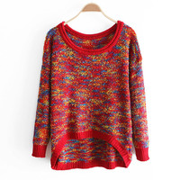 Winter Loose Bat Sleeves Round Neck Mixed Color Sweater Red Blue