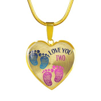 Mother Twin Boy Girl Baby Footprints Necklace Bracelet