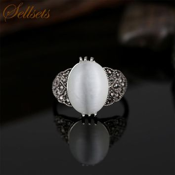 Sellsets Luxury Natural Stone Jewelry Ring High Quality Antique Silver Color Fashion Opal Rings For Women