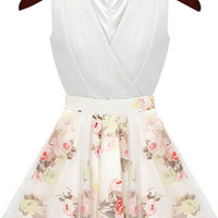 Apricot V Neck Sleeveless Floral Flare Dress - Sheinside.com