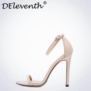 DEleventh Classics Sexy Women Shoes Peep Toe Stiletto High Heels Shoes Woman Sandals
