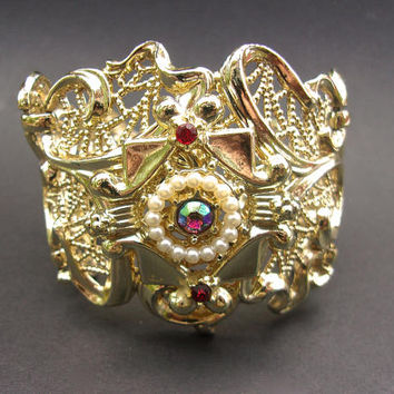 SARAH COVENTRY Gold Plated Filigree Bracelet, AB Rhinestones, Chunky, Vintage