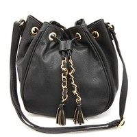 Chain & Tassel Cross-Body Bucket Bag