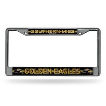 Southern Miss Golden Eagles NCAAGlitter Bling Chrome Auto License Plate Frame