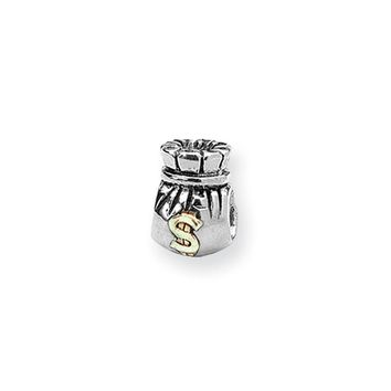 Sterling Silver and 14k Yellow Gold Money Bag Bead Charm