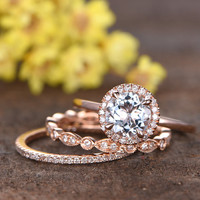 1.2 Carat Round Aquamarine Wedding Set Diamond Bridal Ring 14k Rose Gold Art Deco Full Eternity Matching Band