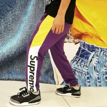 Supreme Tide brand color matching autumn and winter jogging sports pants purple