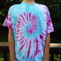 XL Tie Dye Swirl Shirt in Blue and Purple, Adult XLarge TieDye Tshirt, Retro Shirt, Extra Large Mens Tiedye Tee, Plus Size, Big and Tall