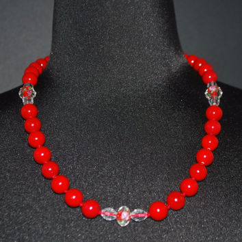 Red Shell Pearls Bead Crystal Ascent Necklace.