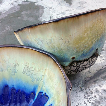 Set of 2 Full Sized Bowls for Soup or Pasta w/ Crystalline Glaze in Ivory White & Blue, Hand Built Art Vessels, 6.25 w X 3.5 tall. Food safe