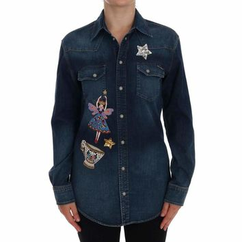 Dolce & Gabbana Blue Denim Sequin Stitched Applique Shirt