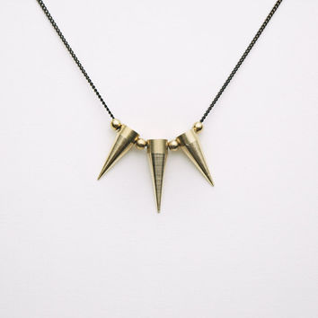Raw Brass Spike Necklace - Modern Brass Jewelry - Black Brass Chain