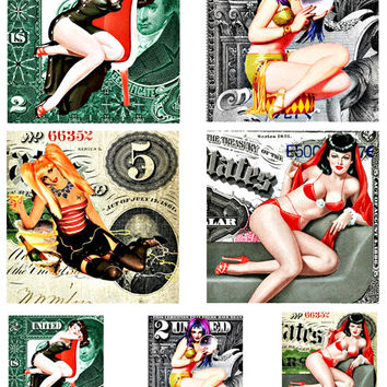 "pinup girls on money pin ups clip art 3.8"" and 2 inch squares digital download COLLAGE SHEET printables dollar bills currency coasters tiles"