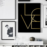 Black Gold Love Print, Gold Print, Gold Art, Gold Typography, Printable Art, Love Art, Gold Prints, Minimalist Art, Digital Download