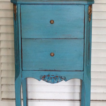 Small French Blue Nightstand 1940s