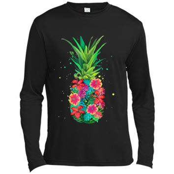 Pineapple Flowers Aloha Hawaii - Vintage Hawaiian  Tee Long Sleeve Moisture Absorbing Shirt