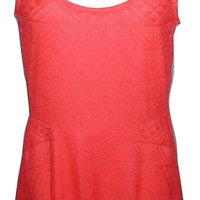 Charlotte Russe Womens Geometric Lace Skater Dress Small Neon Coral Pink