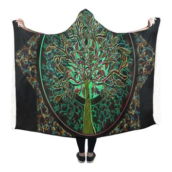 Hooded Blanket Tree Of Life 80x53 Inch