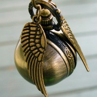 Enchanted Golden Snitch WATCH necklace by UmbrellaLaboratory